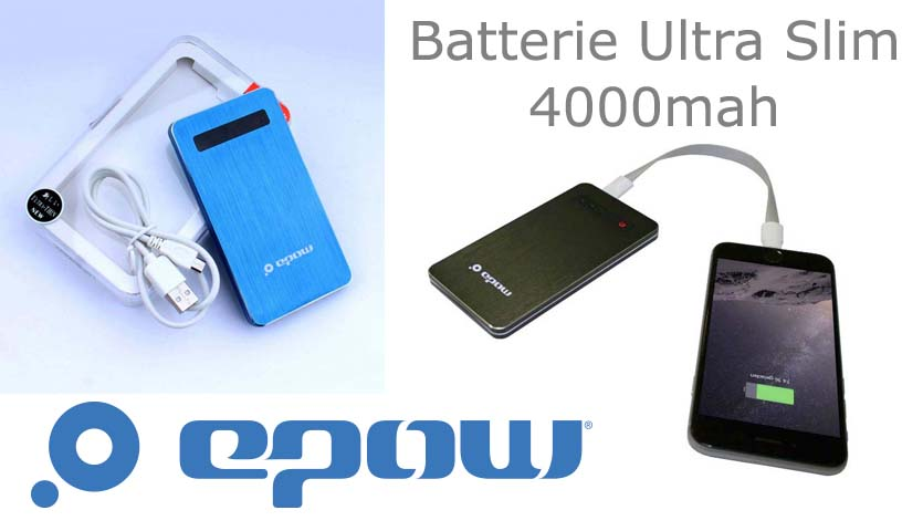 batterie externe extraplate epow-4000mah-slim-look-aluminium-brossé-indicateur led