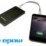 batterie externe extraplate epow-4000mah-noir-slim-look-aluminium-brossé-indicateur led