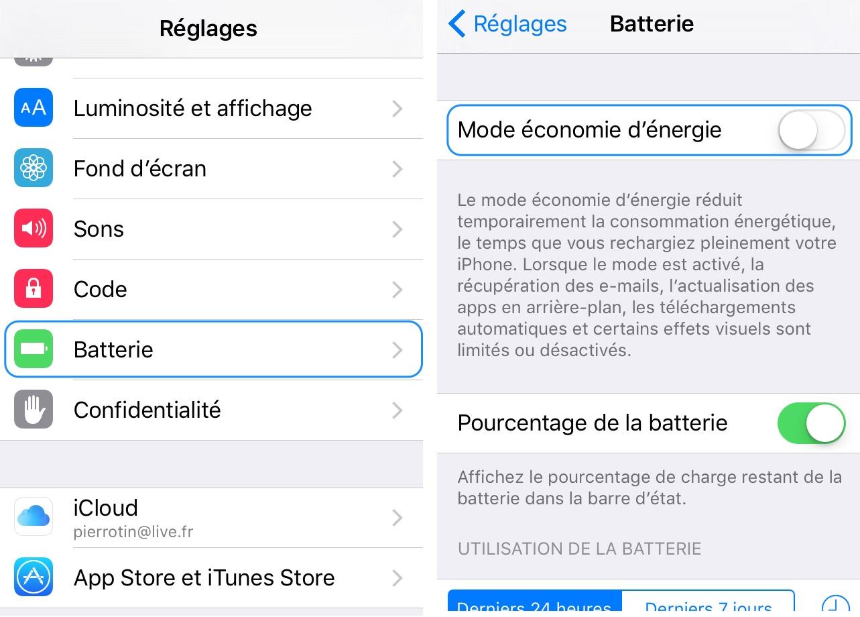 economie batterie ios