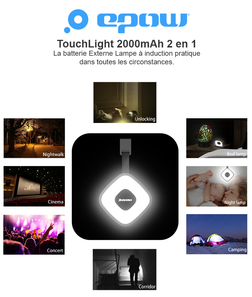 Epow TouchLight lampe induction Batterie de secours