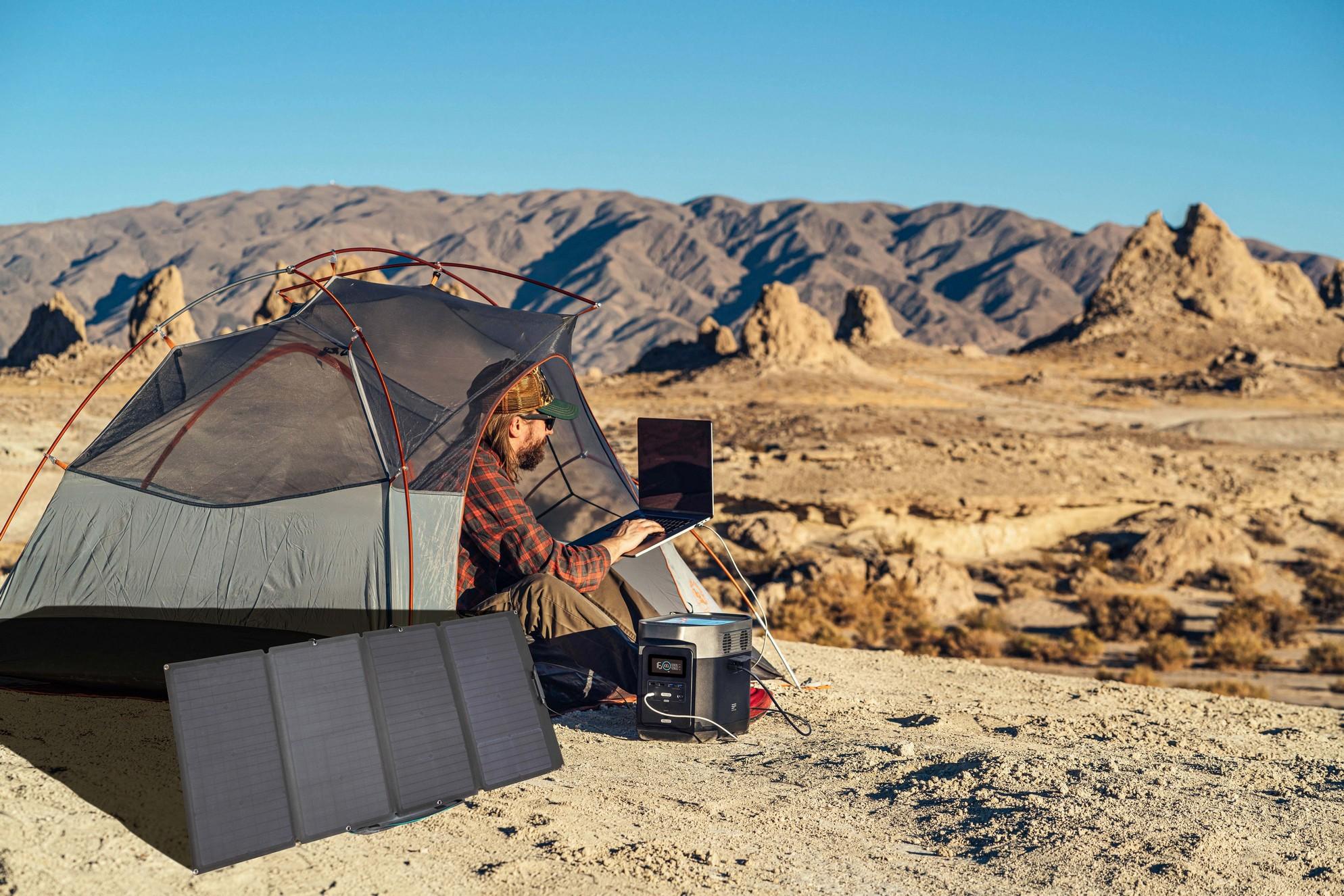 Camping batterie ecoflow avec panneau solaire ecoflow