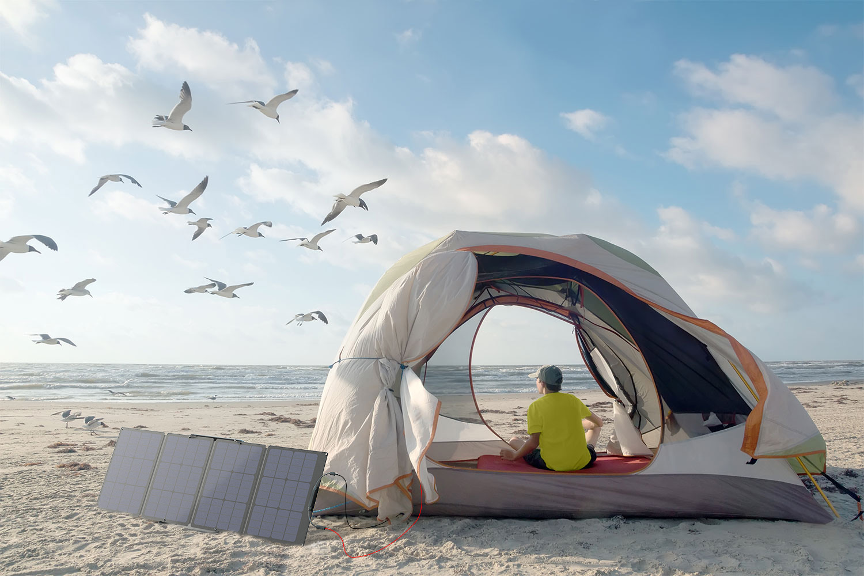 camping ecoflow batterie de secours 220V recharge solaire