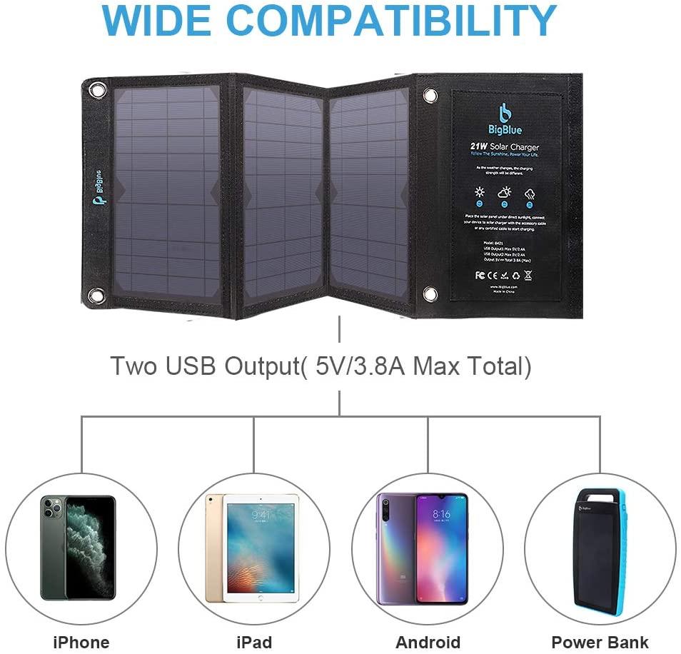 Panneau solaire 21W pliable USB