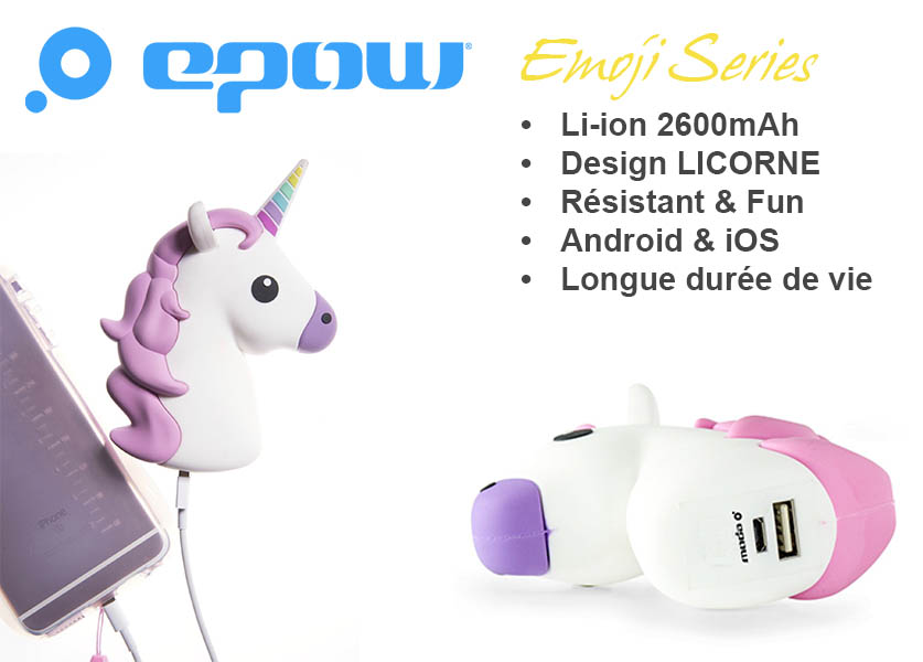 epow emoji series licorne batterie externe licorne caracteristiques
