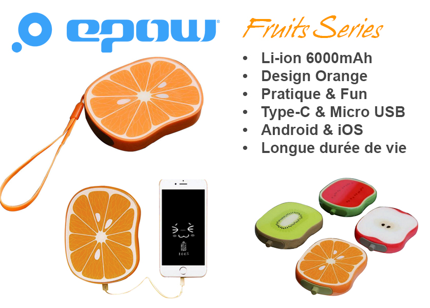 epow fruits emoji series orange batterie externe orange caracteristiques