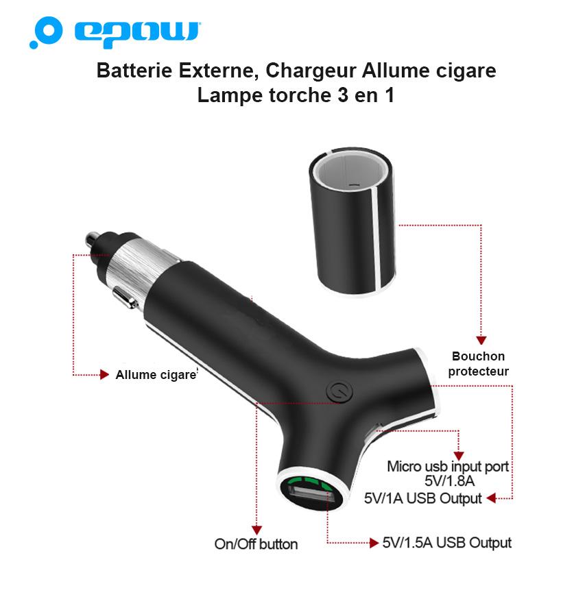 details-batterie portable allume cigare-X2-USB
