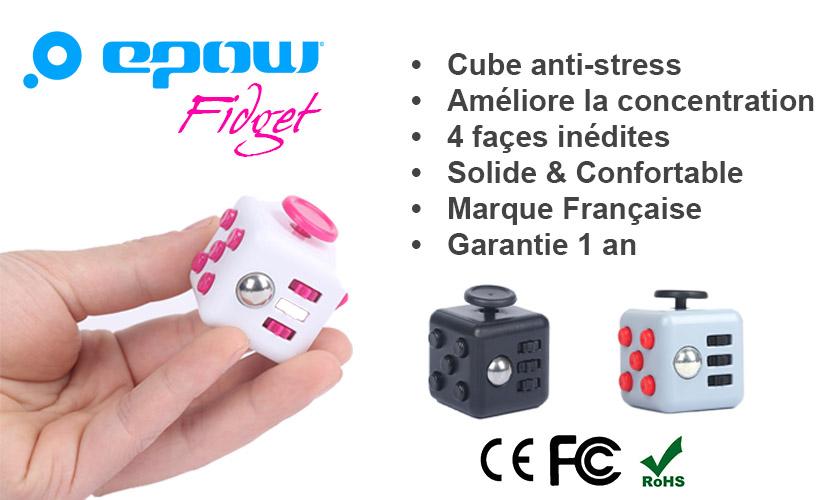 Fidget cube epow-garantie 1an-francais-CE-gadget anti stress