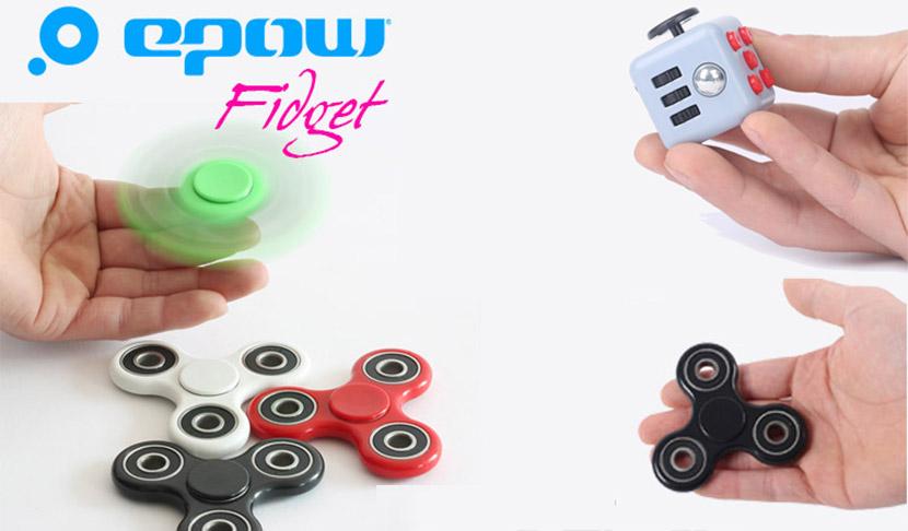 hand-spinner-fidget tri spinner-epow-noir-blanc